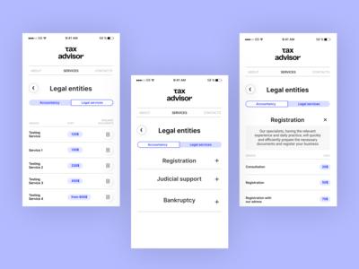 Tax Advisor Website (Mobile)