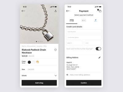Jewerly Shop shop jewelry jewellery ui ux product design app payment
