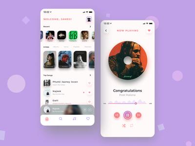 Music Streaming App UI Design Concept webdesign website design mobile app mobile app design ui design uidesign streaming app music player music music app app web design illustraion ui design