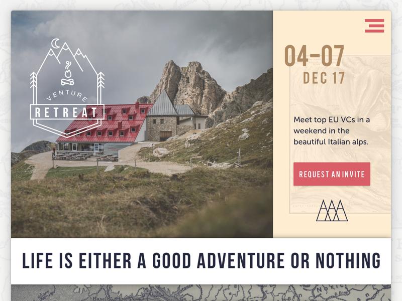 Homepage for Venture Retreat sketch web homepage adventure retreat venture