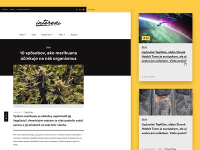 Interez - news portal interez bold black typography yellow news white space cards simple