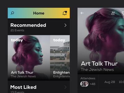 Events - App concept screen dark millennials clean concept app mobile events