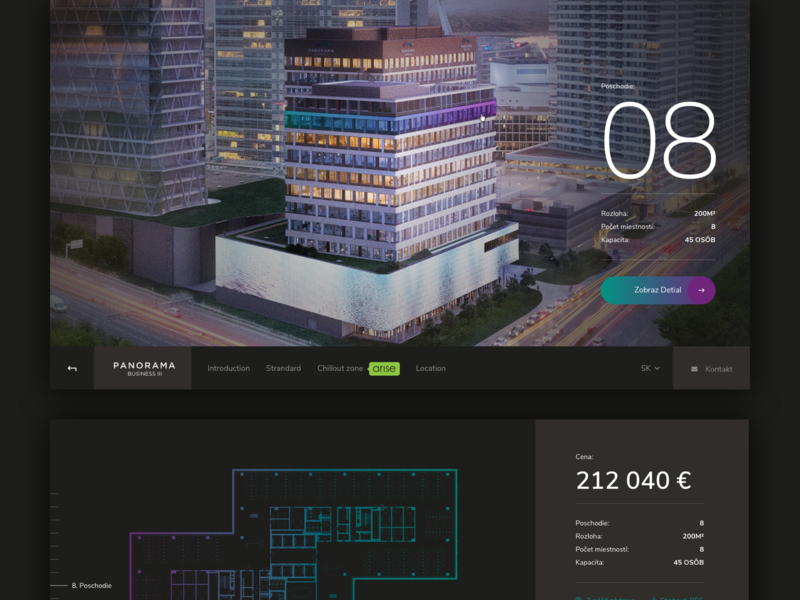 Panorama Bussiness - Webpage layout navigation select scroll parallax photography typogaphy floor plans interaction design webdesig dark