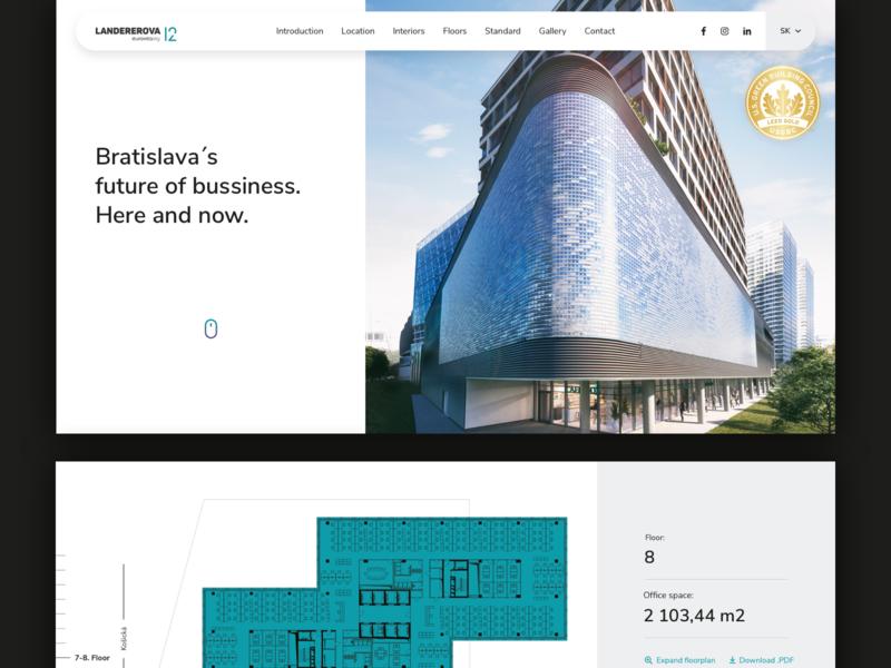 Landererova 12 - Webpage white webdesign interaction-design floor plans typography photography paralax scroll navigation layout