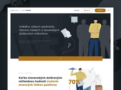 Wealth Report - Webpage dark typogaphy wealth animation millionaire finance bank survey report visualisation data illustration ui webdesign