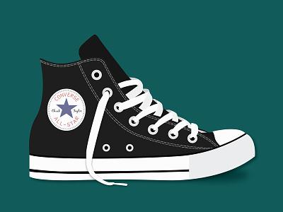 Converse All-Star laced laces all-star chucktaylor art vector simple chucks illustration flatdesign converse shoe