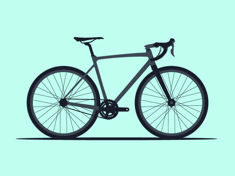 Cyclocross Bike bicycle flat cool color gravel grinder icon flat design vector bike illustration