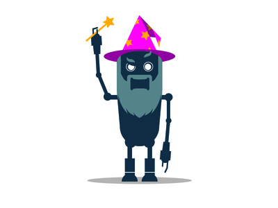 Eugene the Email Wizard wizard magic wand robot illustration flat vector branding marketing character design website