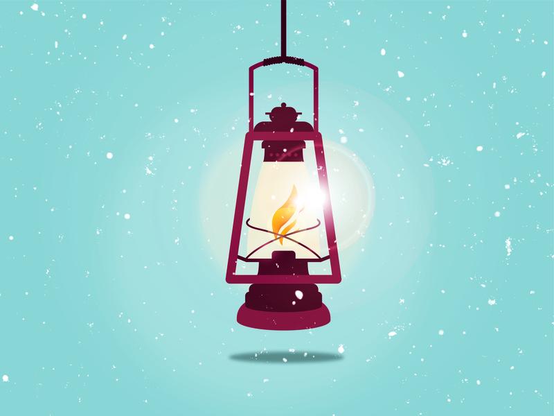 Lantern Illustration glow winter snow lantern camp outdoor camping light adventure branding marketing flat design vector illustration