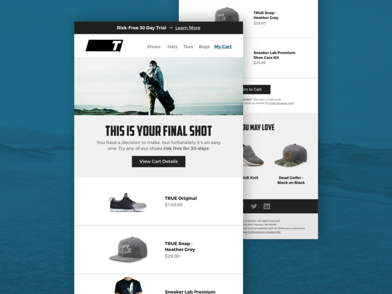 eCommerce Email Design email development email designer email design email branding user experience ui online shopping online store shoes apparel mailchimp shop ecommerce design online shop adventure outdoor golf golfing ux