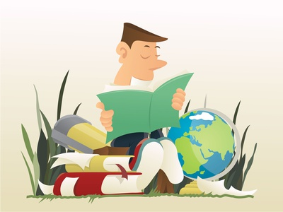 Guy studying geography on a bench in a park.