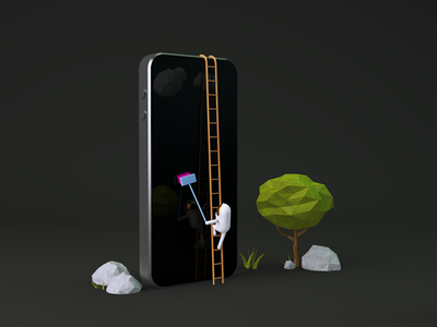 """The shining """"phoners"""" nasa illustration clean surreal tree space iphone astronaut physicalrender c4d cinema4d 3d"""