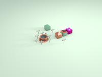 Elements for 3D Village Illustration