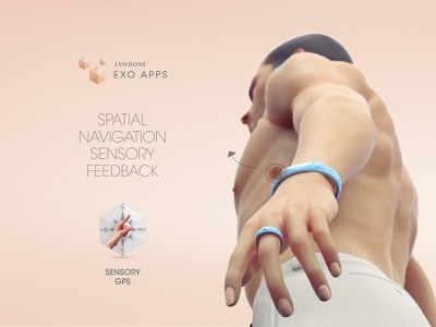 Jawbone EXO Apps - Sensory GPS digitalart cgi human characterdesign keyshot jawbone smartwatch hmi interaction concept app wearable tech wearable advertising adv illustration body