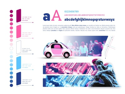 Self Driving Society - Colors Schemes, Fonts, Illustrations
