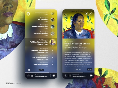 Enjoymuseum App | Gauguin - Tahitian Woman uidesign application uxdesign user inteface uiux ui userexperience ux mudec milano gauguin painting art exhibition augmented audioguide museum experience mobile app