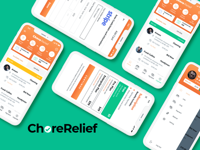 Chore Relief Pro App paypal payment subscription payment method design flat icon service mobile app product design ux ui design ios app app