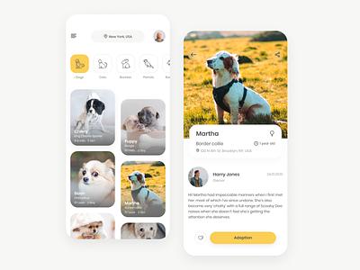 Pet Adoption App animal pets animals adoption mobile app design figma app mobile concept ux ui
