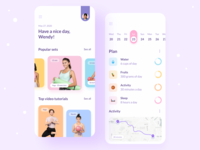 Fitness App exercises tutorials daily planner calendar sport activity health fitness adidas mobile app mobile ux ui figma design concept app