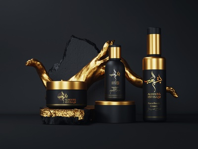 Branding for Alhub & Ibtisam Beauty Products arabic branding arabic products logo beauty products branding packaging cosmetics luxury brand illustration arabic calligraphy 3d shading branding calligraphy