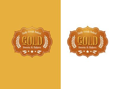 Gold Bakers & Sweets Logo logo design 3d shading food logo golden logo bakery logo