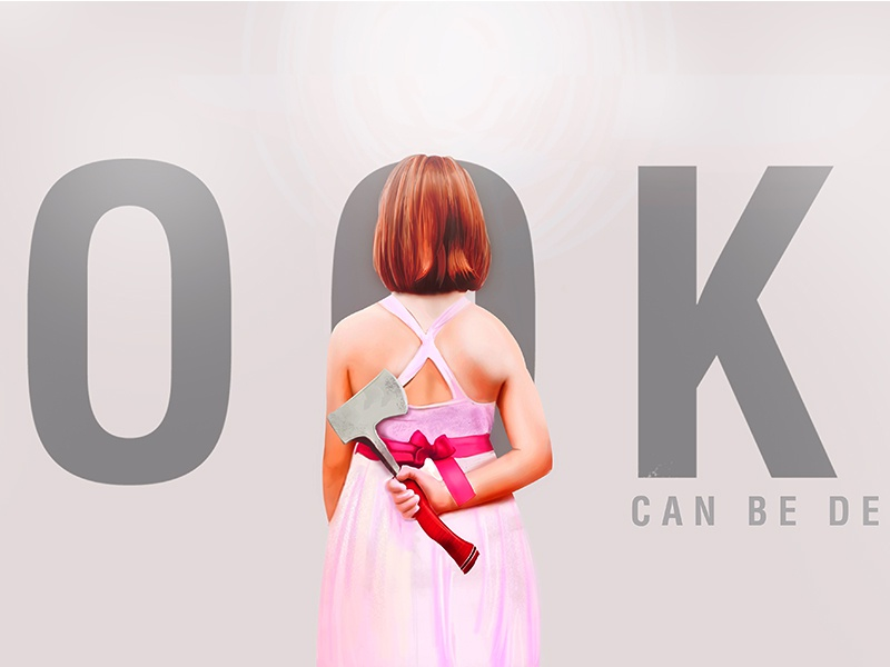 Looks Can Be Deceiving brush hair pink axe photoshop girl art digital