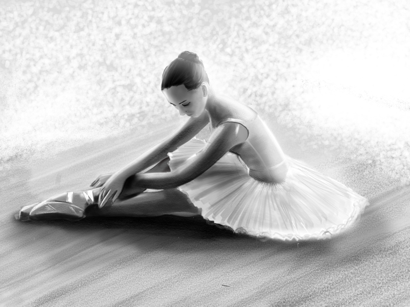 A thought of a ballet sketchbook sketch pencil gray ipad pro art illustration ballet