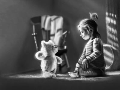 little Girl and teddy's world
