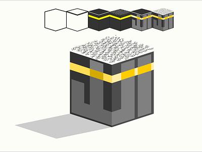Kaaba minimal icon vector logo design illustration