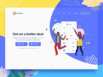 handled landing page—early exploration. web  design landing page
