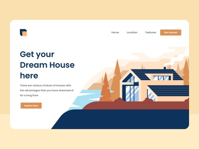 Dream House Illustration minimal clean figma house illustration landing page web web design