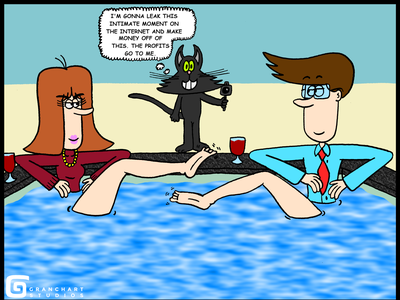 Sunday Illustration #8: The Naughty Cat man and woman wife husband husband and wife cameras bad cat naughty kitty water camera hot tub wine foot legs up bad kitty cute kitty kitty cat black cat married couple couple