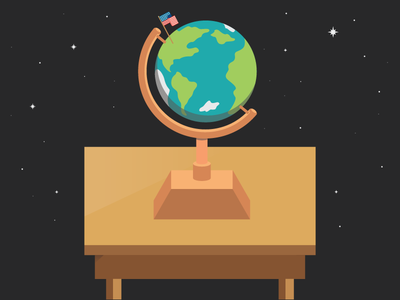 Back to School vector icon school globe desk space education