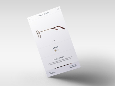 Warby Parker - Inner Page warby parker minimal glasses app principle animation ios ui sketch