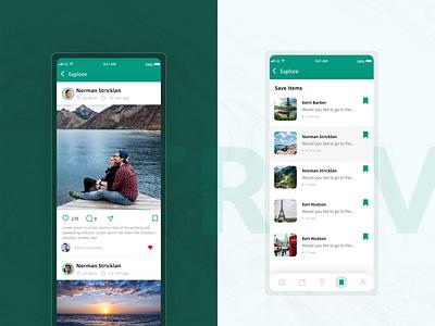 Social Network App for Tourists tourism travel app traveling save items design tour trip app design mobile app ui travel app ui