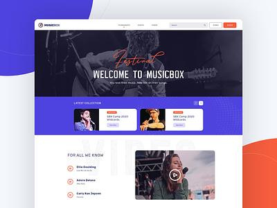 MusicBox Landing Page event interface festival music wordpress theme landing page website design ui flat design