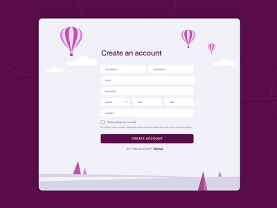 User Signup Form Page icons design ui illustration registration registration form signup flat design