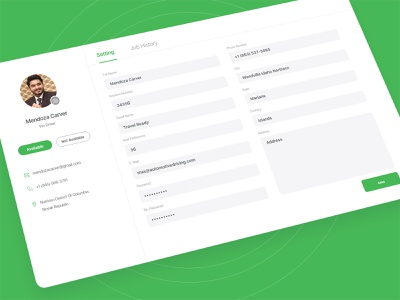 Web User Profile Page flat minimal email phone address location website forms user profile flat design