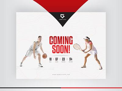 ⚽🏀🏈⚾GamoClock (coming soon) 🥎🎾 🏐🏉 icon vector logo ui flat design company landingpage website sport game comingsoon
