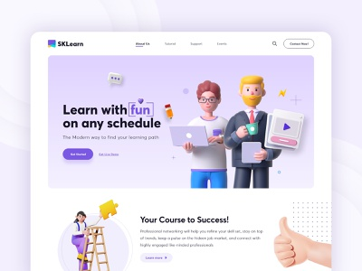 Online Education Agency learning education uidesign flat design landingpage minimal online course tutorial illustration 3d agency design
