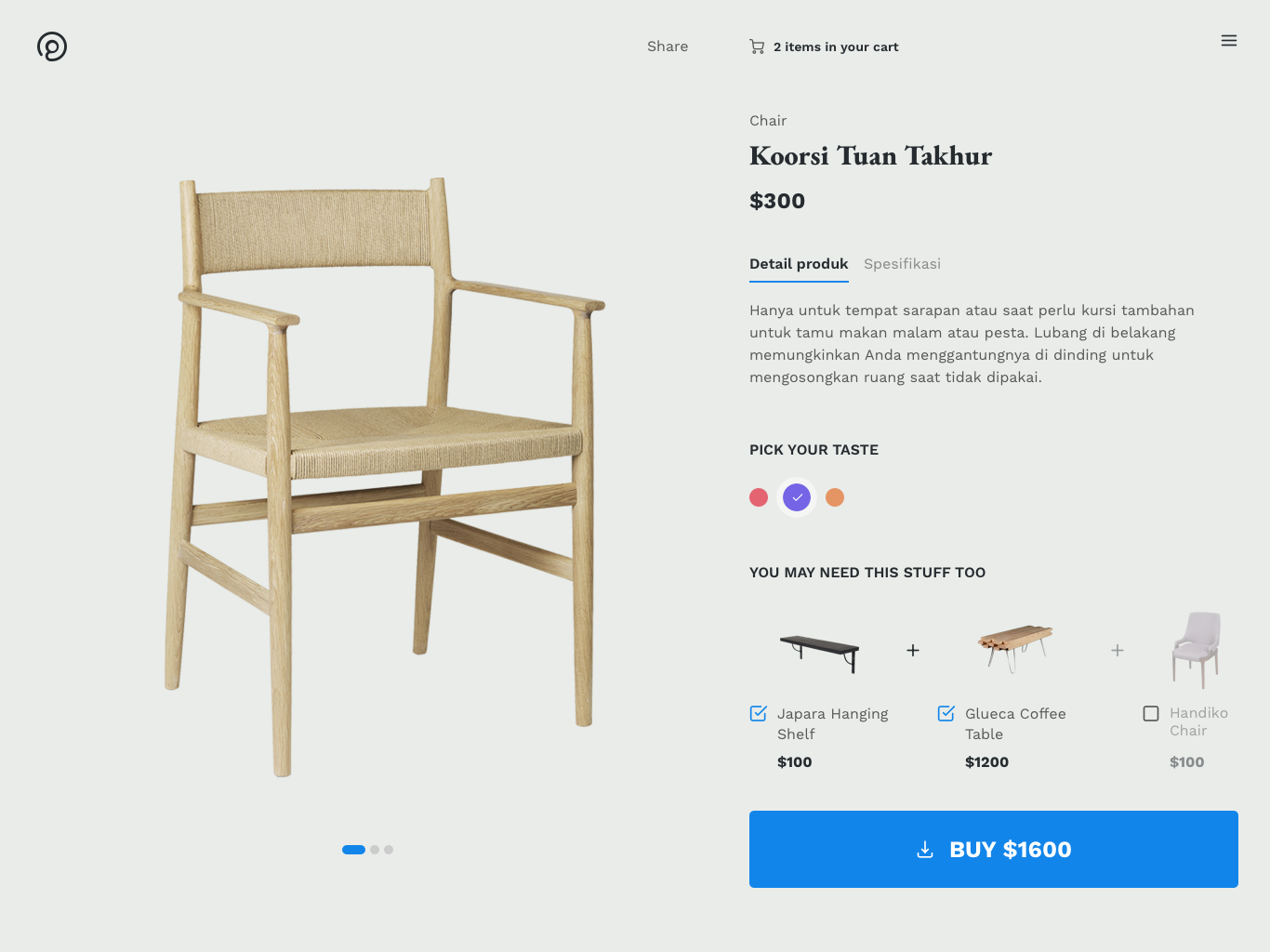 Makayu : Product Detail webdesign clear minimalist ecommerce product detail