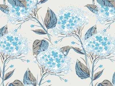 Hortensia Seamless Pattern fashion floral design floral pattern ornament pattern vector textile surface pattern design surfacedesign seamless pattern seamlesspattern seamless print plant illustration design hortensia