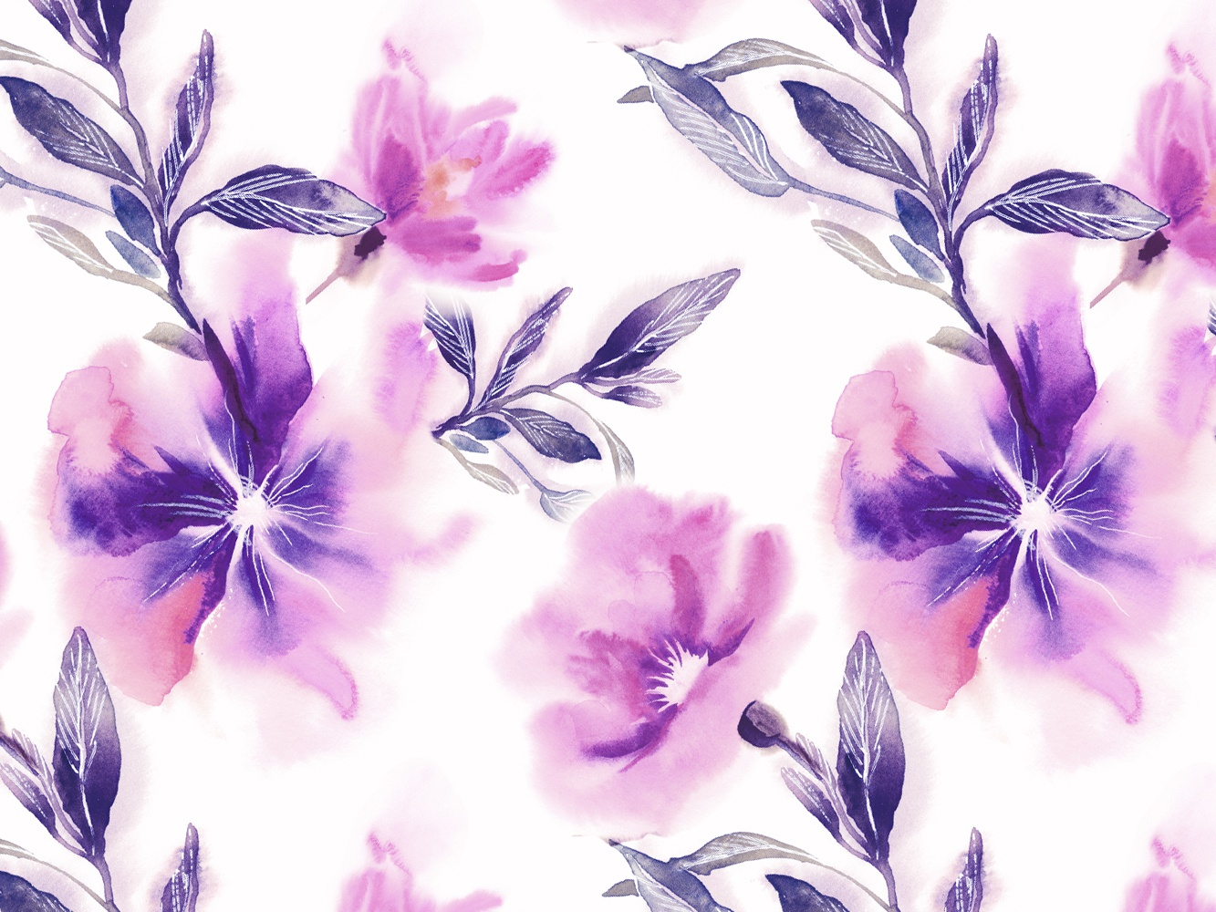 Watercolor Floral Seamless Pattern By Marina Grau On Dribbble