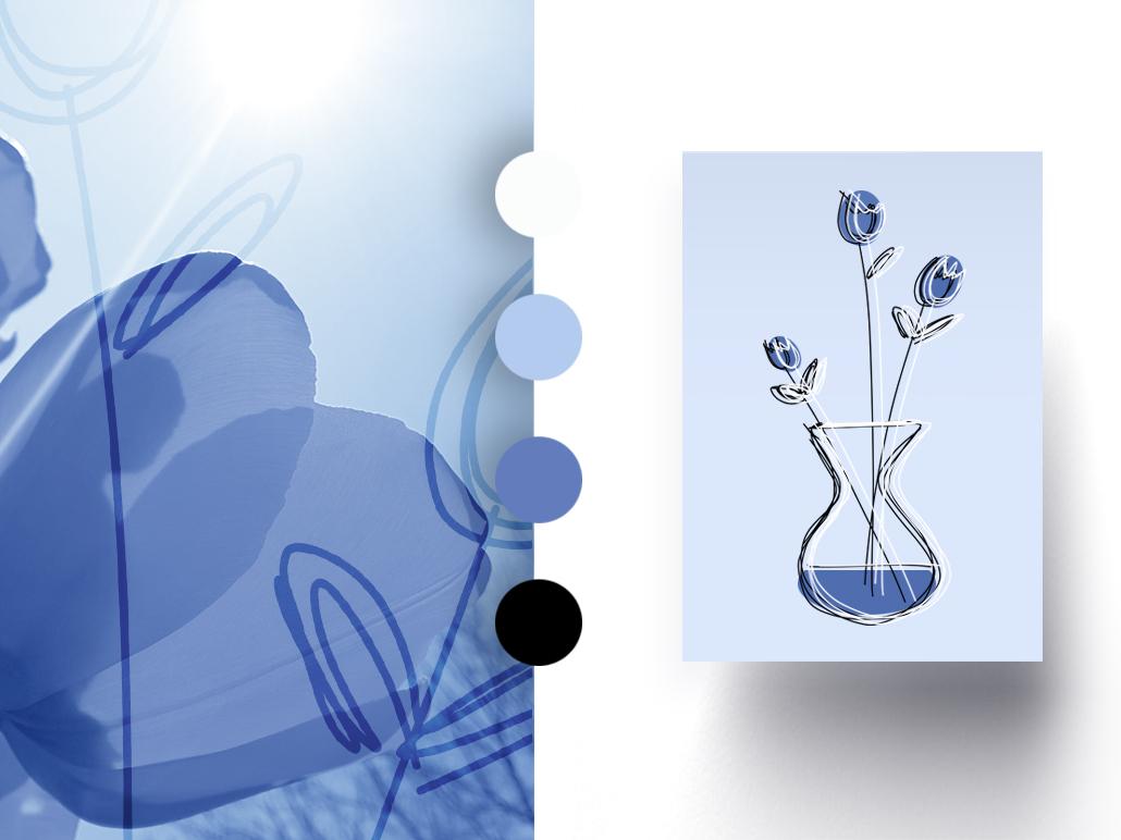 Floral Flyer label surface design surface pattern design surface pattern pattern ornament ornamental blue vase flower flower illustration minimalism minimalistic greeting card illustration print design print flyer design flyer