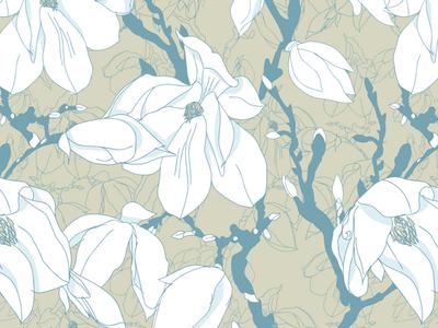 Magnolia Seamless Pattern vector magnolia hand sketch hand drawn textile surface pattern design surfacedesign seamless pattern seamlesspattern print pattern ornament flower illustration flower floral pattern floral design floral fashion design fashion