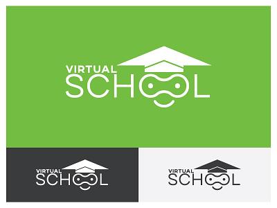VIRTUAL SCHOOL logo flat web app ditective logo ditective brand design minimal illustrator art graphic design ux ui vector typography logodesign illustration icon design branding logo