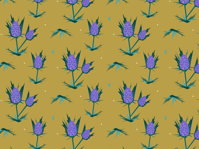 Thistle Pattern design surface thorns leaves flower plants plant weed color vintage illustration botanical pattern thistle