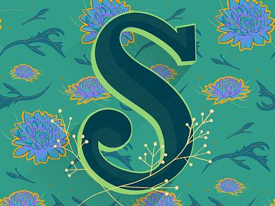 Spider Mum floral flower mum s hand lettered pattern botanical illustration typography painting digital texture letters letter lettering