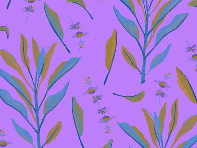 Sage flowers leaves healing plants botanical vibrant texture brushes gouache digital art pattern print sage