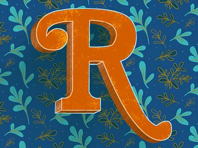 Rue letters study rue type letterforms lettering hand lettering leaves plants illustration herbs botanical